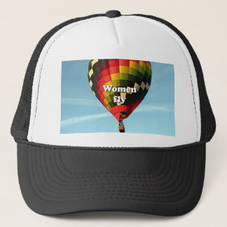 Women fly: hot air balloon trucker hat