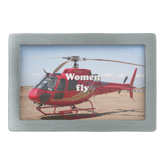 Women fly: red helicopter belt buckles