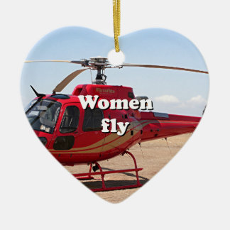 Women fly: red helicopter ceramic heart ornament