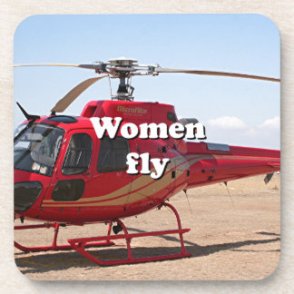 Women fly: red helicopter drink coaster