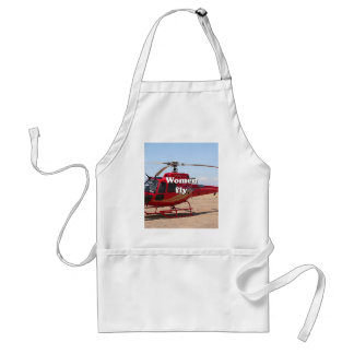 Women fly: red helicopter standard apron