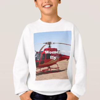 Women fly: red helicopter sweatshirt