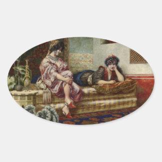 Women Friends in a Harem Oval Sticker