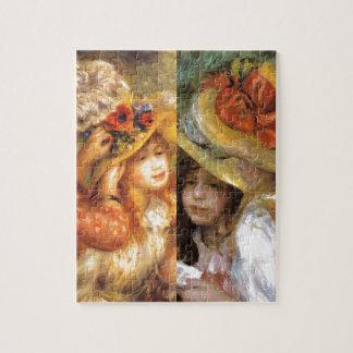 Women headwear are masterpieces in Renoir's art Jigsaw Puzzle