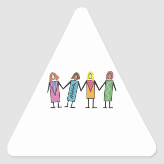 WOMEN HOLDING HANDS TRIANGLE STICKERS