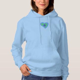 Women Hooded Sweatshirt Blue Diamond Heart