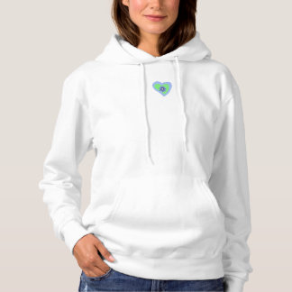 Women Hooded Sweatshirt White Blue Diamond Heart