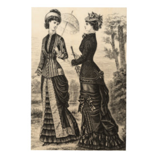 Women in Black and White Vintage Wood Canvases