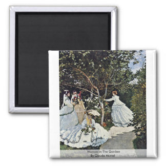 Women In The Garden By Claude Monet Square Magnet