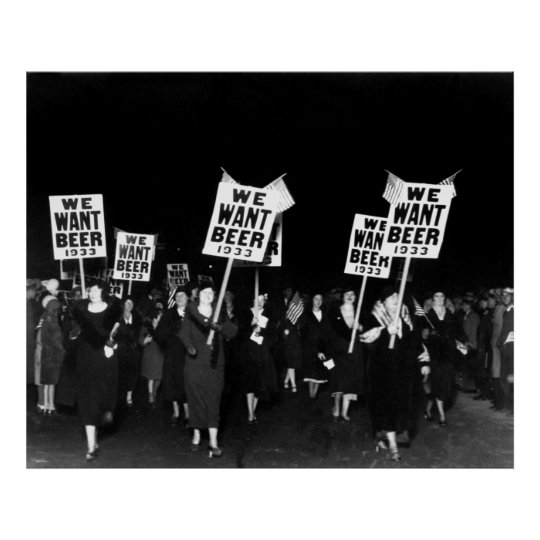 WOMEN MARCH for BEER - PROHIBITION 1933 Poster