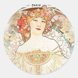 Women Mucha Classic Round Sticker