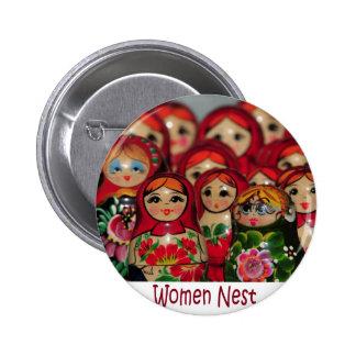Women Nest, Russian Nesting Dolls 2 Inch Round Button