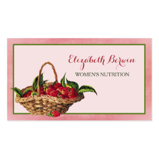 Women Nutrition Girly Pink Strawberries QR Code Business Card