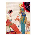 Women Parasols and Greyhound