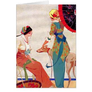 Women Parasols and Greyhound Card