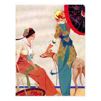 Women Parasols and Greyhound Postcard