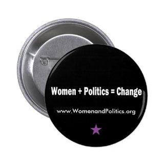 Women + Politics = Change 2 Inch Round Button