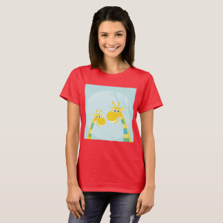 Women Red creative T-Shirt with Yellow Giraffes
