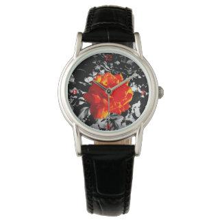 Women red rose Custom Classic Black Leather watch
