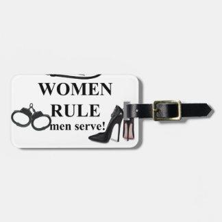WOMEN RULE MEN SERVE TRAVEL BAG TAGS