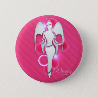 Women's day,white woman angel on pink 2 inch round button