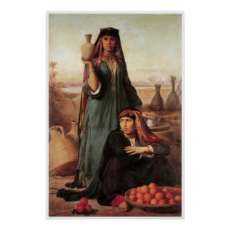 Women selling Water & Oranges on the Road Poster