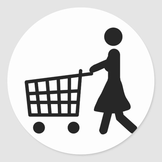 women shopping black trolly classic round sticker