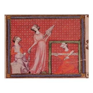 Women Spinning Wool Postcard