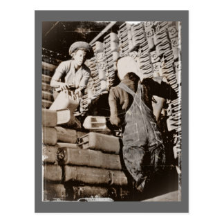 Women Stacking Gas Cans for Shipping WWII Postcard