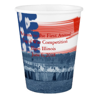 Women  Tug of War 1890  American Flag Custom Text Paper Cup