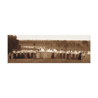 WOMEN TUG OF WAR 1890 TUG-O-WAR ORIGINAL CANVAS PRINT