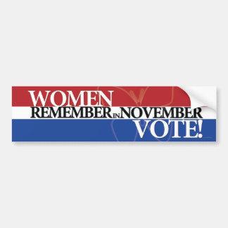 Women Vote - Remember in November 3 Bumper Sticker