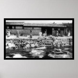 Women Washing Laundry in a Stream in Korea 1895 Poster