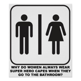Women Wearing Capes in the Bathroom Funny Poster