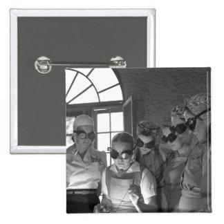 Women Welders in WWII, 1940s 2 Inch Square Button