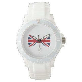 Women white silicon watch - Union Jack Bow Tie