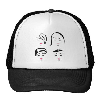 Women with different hairstyles trucker hat