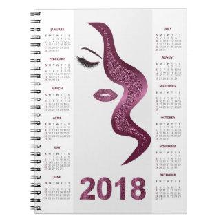 Women with glittery makeup 2018 calendar notebooks