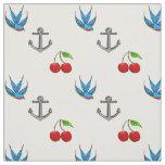 Women's 1950's Bluebird Cherry Anchor Pattern Fabric