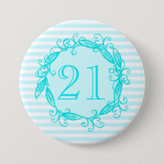 Women's 21st Birthday Aqua Blue White Swirly 3 Inch Round Button