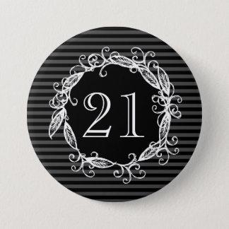 Women's 21st Birthday Pink White Black Swirly 3 Inch Round Button