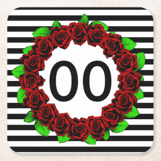 Women's 30th 40th 50th 60th 70th Birthday Red Rose Square Paper Coaster
