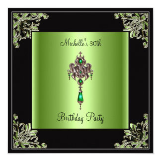 "Womens 30th Birthday Party Green Black Jewel 5.25"" Square Invitation Card"