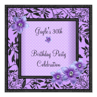"Womens 30th Birthday Party Purple Black Flower 5.25"" Square Invitation Card"
