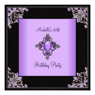 "Womens 30th Birthday Party Purple Black Jewel 5.25"" Square Invitation Card"