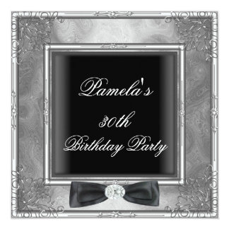"Womens 30th Birthday Party Silver Black Floral 5.25"" Square Invitation Card"