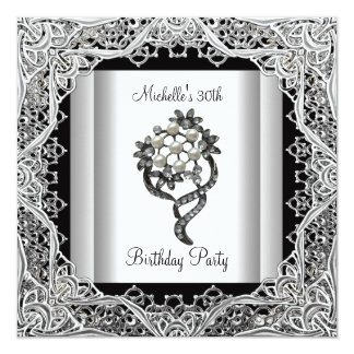 "Womens 30th Birthday Party Silver Black Jewel 5.25"" Square Invitation Card"