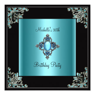 "Womens 30th Birthday Party Teal Blue Black Jewel 5.25"" Square Invitation Card"