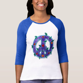 Women's 3/4 Raglan Shirt- Groovy Vine peace sign T-Shirt