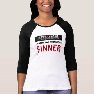 Women's 3/4 sleeve black and white tee- SINNER T-Shirt